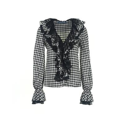 frill detail gingham check blouse